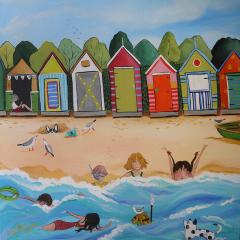 Brighton-Beach-Boxes-Lizzy-Newcomb-Landscape-Art